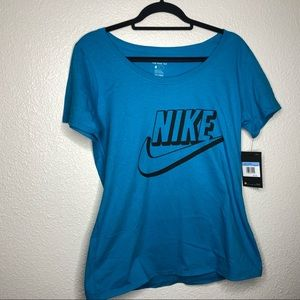 Nike blue t-shirt with black logo